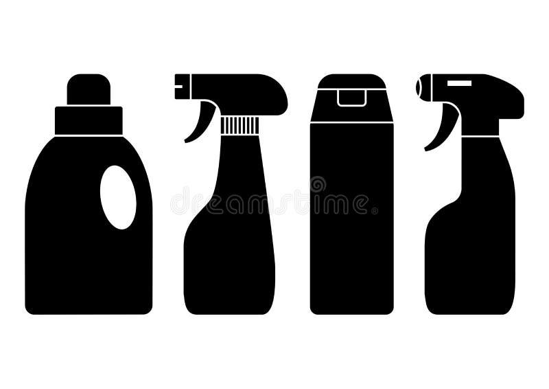 chemische detergentia Reeks van flessen schoonmakende agent Vector illustratie royalty-vrije illustratie