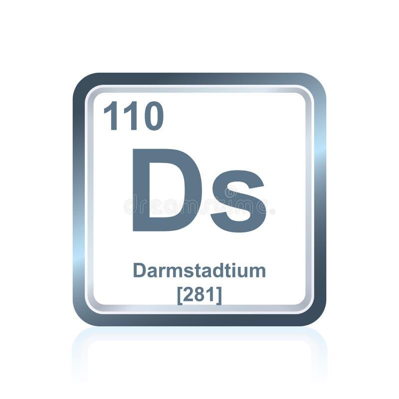 Chemische elementendarmstadtium van de Periodieke Lijst royalty-vrije illustratie