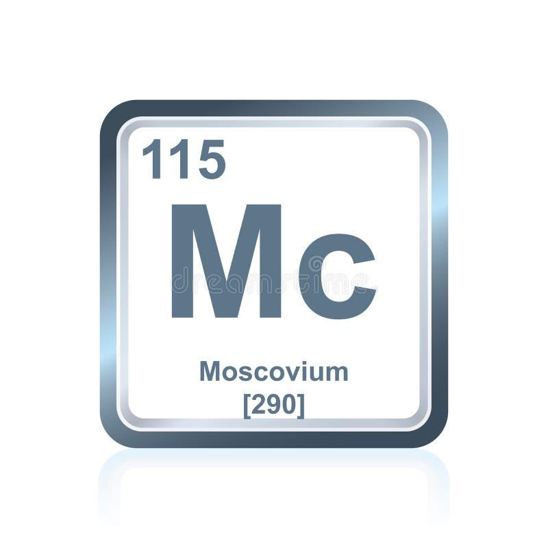 Chemische elementenmoscovium van de Periodieke Lijst stock illustratie