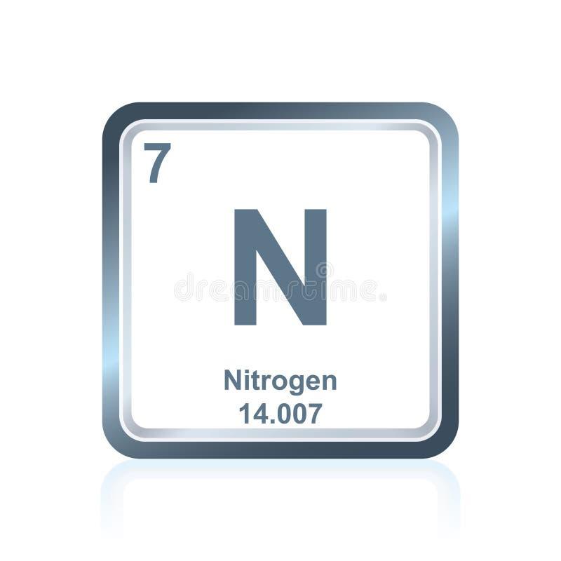Chemische elementenstikstof van de Periodieke Lijst vector illustratie