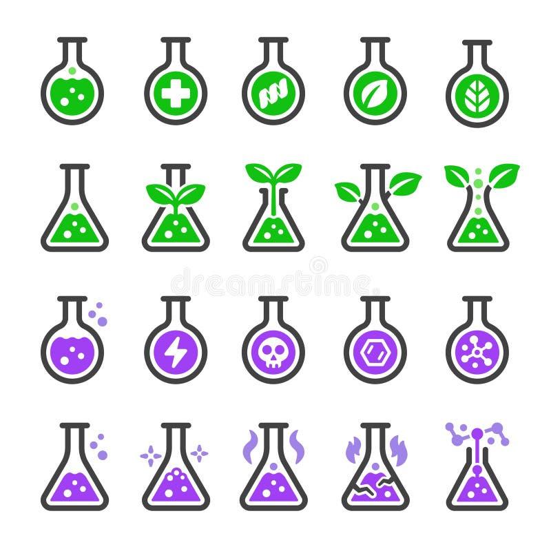 Chemische en niet chemische pictogramreeks vector illustratie