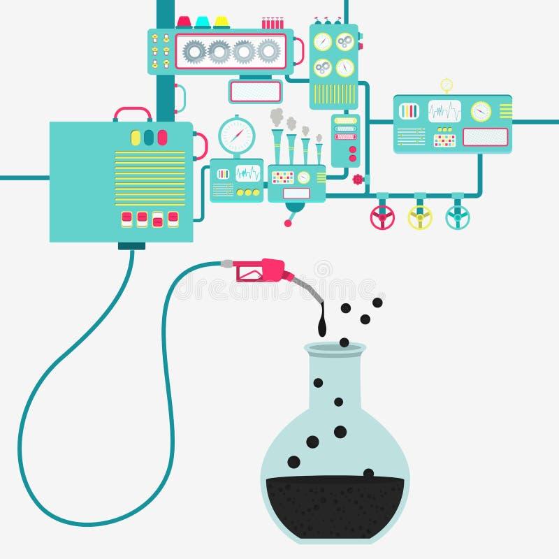 Chemische experiment en olieproductie stock illustratie