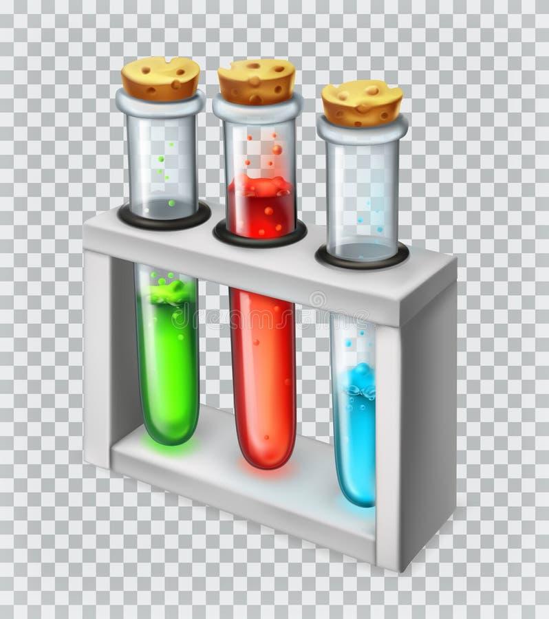 Chemische Flasche, Reagenzglas Übersetzt Ikone vektor abbildung