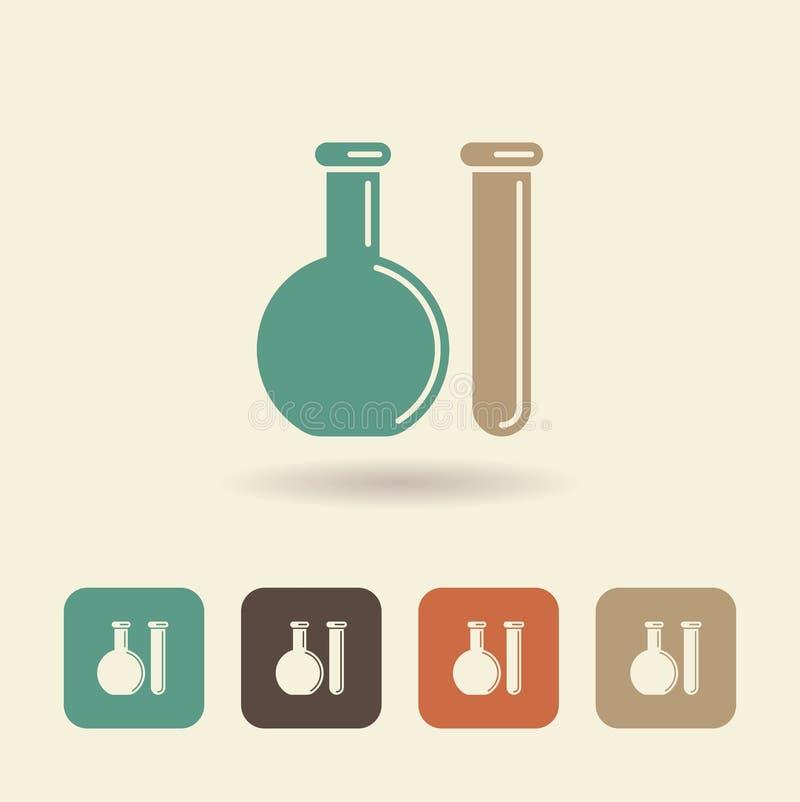 Chemische Flasche und Reagenzglas Kugelkreiserdeplanetenreisenweb-Internet busines Farben-Anschlagland stock abbildung
