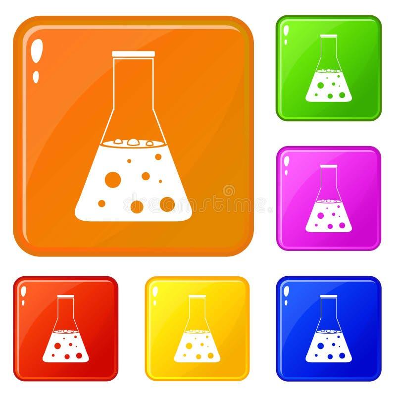 Chemische Flaschenikonen stellten Vektorfarbe ein vektor abbildung