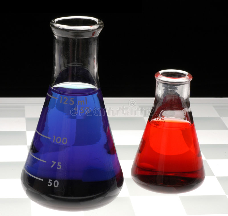 Chemische Flessen royalty-vrije stock foto's