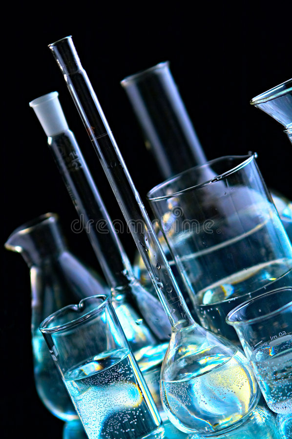 Chemische flessen royalty-vrije stock foto