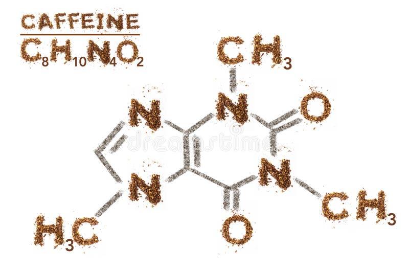 Chemische Formel des Koffeins Grafik der gemischten Medien durch Kaffeebohne stockfotos