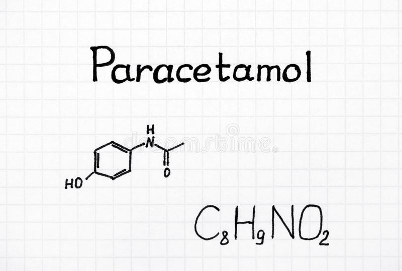 Chemische Formel des Paracetamols lizenzfreies stockbild