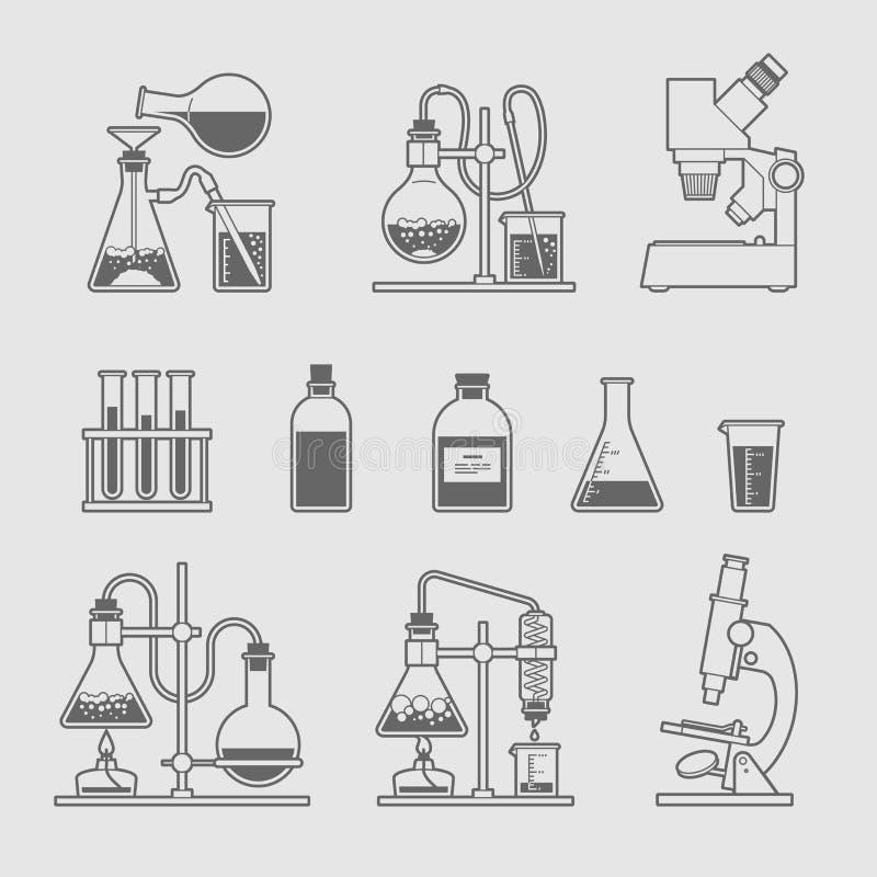Chemische geplaatste glaswerkpictogrammen vector illustratie