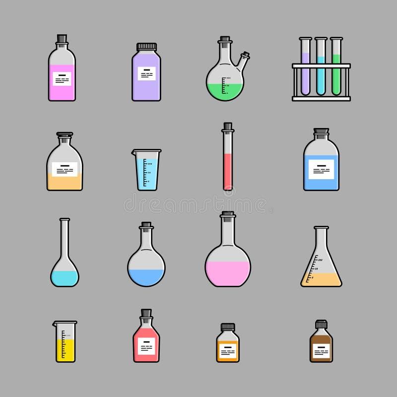 Chemische geplaatste glaswerkpictogrammen stock illustratie