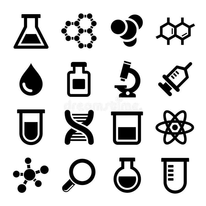 Chemische geplaatste pictogrammen royalty-vrije illustratie