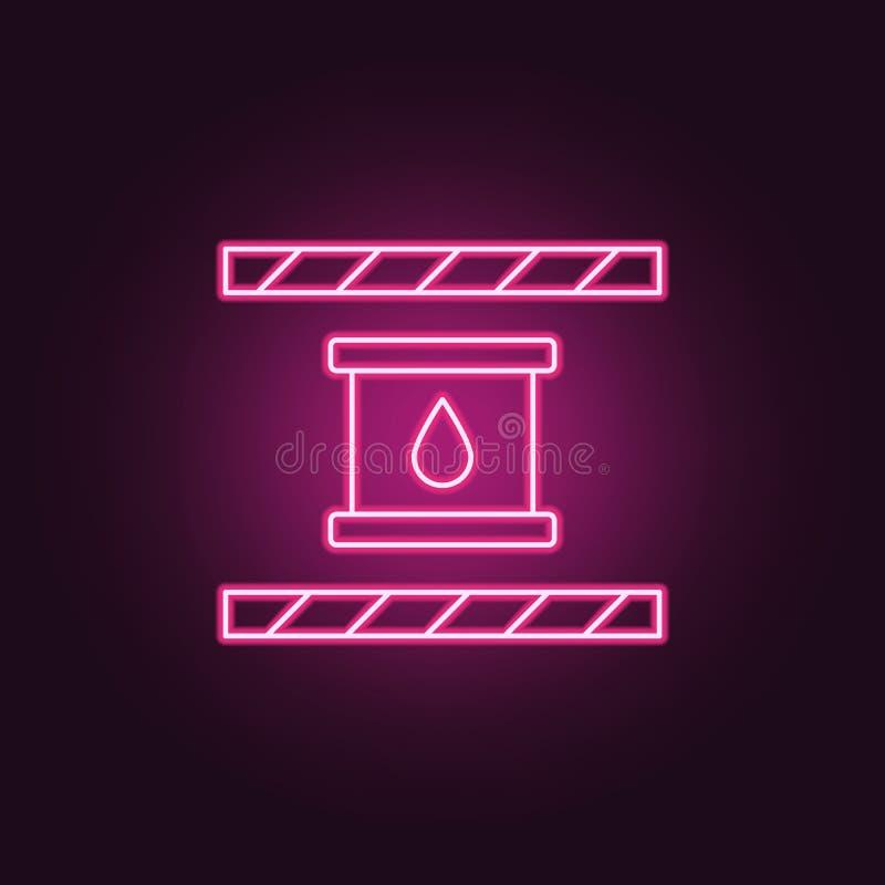 Chemische Ikone Elemente der Herstellung in den Neonartikonen Einfache Ikone für Website, Webdesign, mobiler App, Informationsgra stock abbildung
