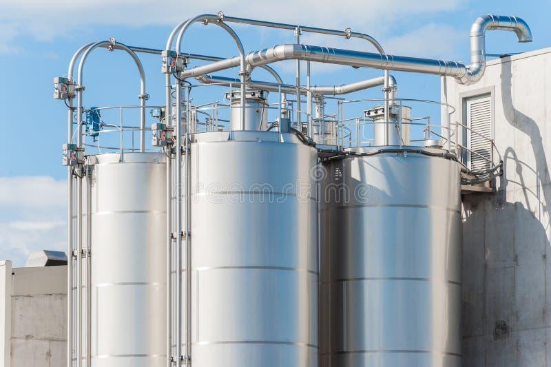 Chemische installatie, silo's royalty-vrije stock fotografie
