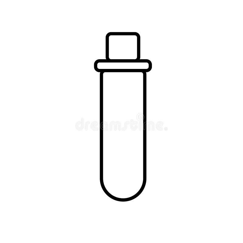 Chemische laboratorium medische reageerbuis, fles voor drugs en chemische experimenten, eenvoudig zwart-wit pictogram op een witt royalty-vrije illustratie