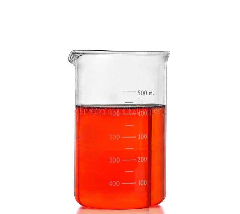 Chemische laboratoriumfles met rode vloeistof royalty-vrije stock foto's