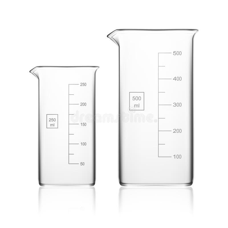 Chemische Laboratoriumglaswerk of Beker De Lege Duidelijke Reageerbuis van het glasmateriaal royalty-vrije illustratie