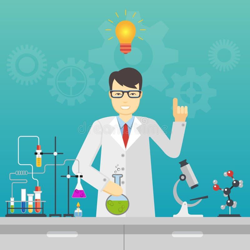 Chemische laboratoriumwetenschap en technologie Het ideeconcept van de wetenschapperwerkplaats stock illustratie