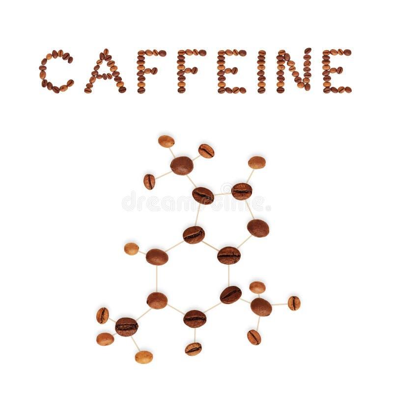 Chemische Molekülstruktur des Koffeins lizenzfreies stockbild