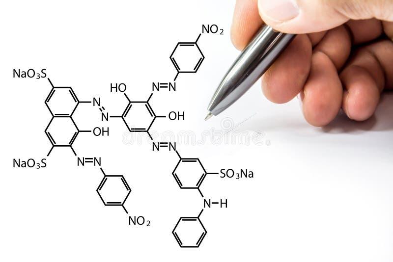 Chemische netto met handteken op hexagon vorm op wit stock afbeeldingen