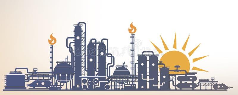 Chemische, petrochemische of verwerkingsinstallatie royalty-vrije illustratie