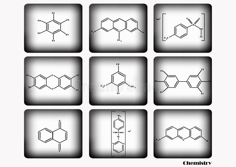 Chemische pictogramreeks, vectorillustratie, chemisch die pictogram op witte en zwarte achtergrond wordt geplaatst royalty-vrije illustratie