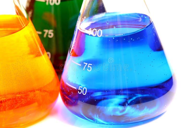 Chemische producten in glasfles royalty-vrije stock foto