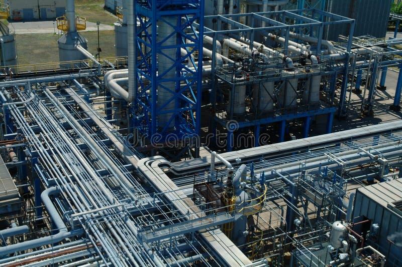 Chemische productie, installatiebouw stock afbeelding