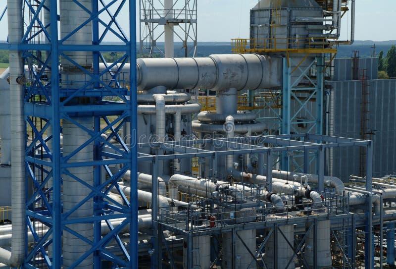 Chemische productie, installatiebouw stock foto