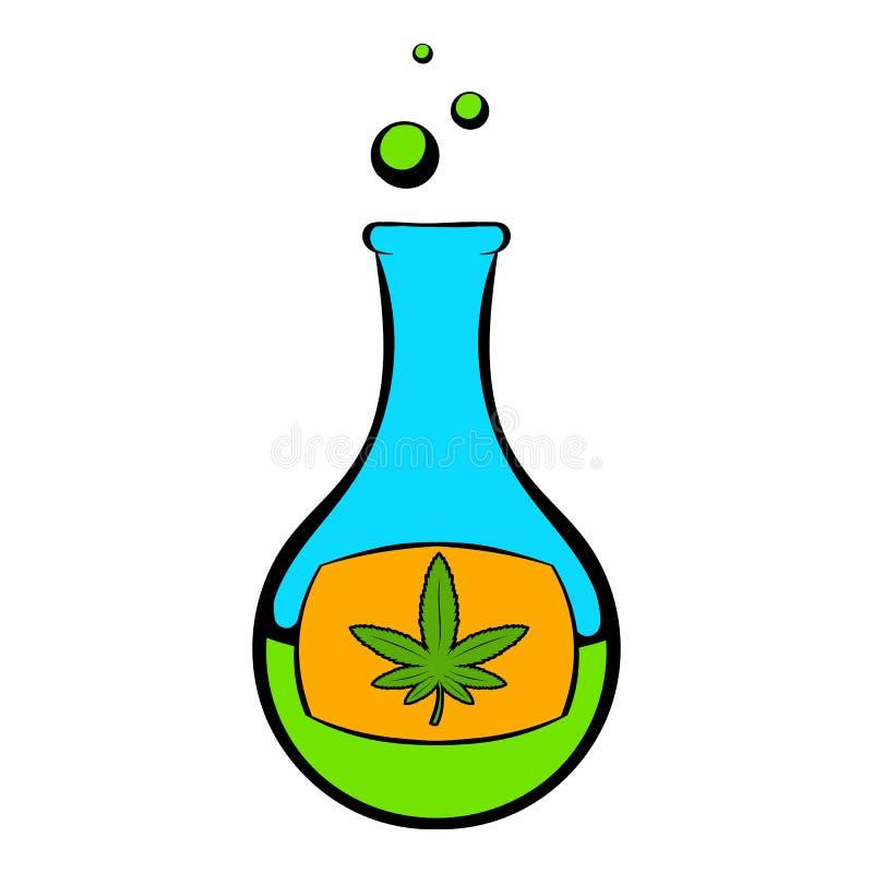 Chemische reageerbuis met het pictogram van het marihuanablad stock illustratie