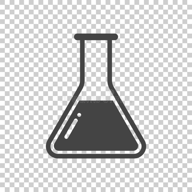 Chemische Reagenzglas-Piktogrammikone Chemisches Laborausrüstung isolat stock abbildung