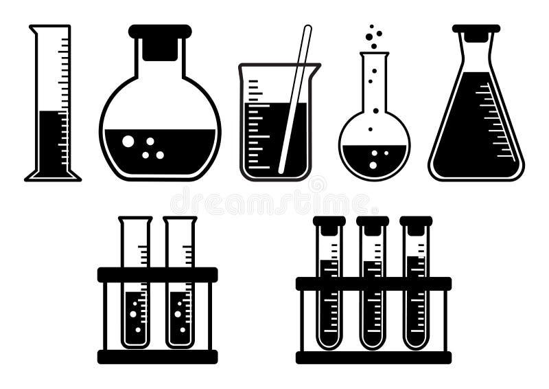 Chemische Schiffe des Schwarzweiss-Satzes Auch im corel abgehobenen Betrag lizenzfreie abbildung