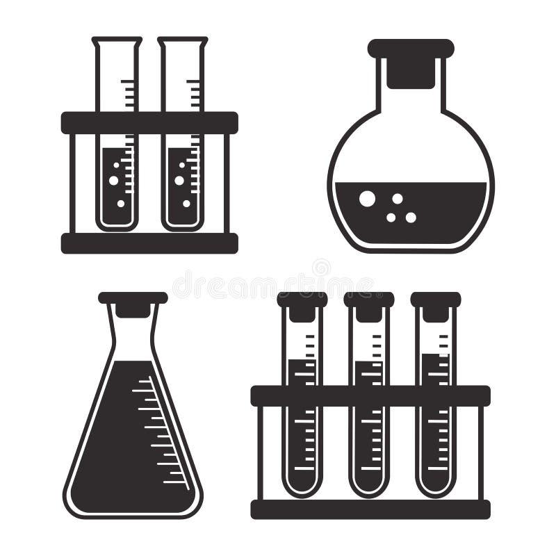 Chemische Schiffe und Flaschen des Schwarzweiss-Satzes mit Flüssigkeit Vektor lizenzfreie abbildung