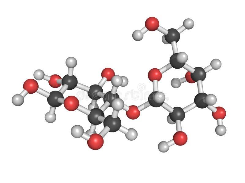 Chemische structuur van lactose, een molecule van de melksuiker vector illustratie