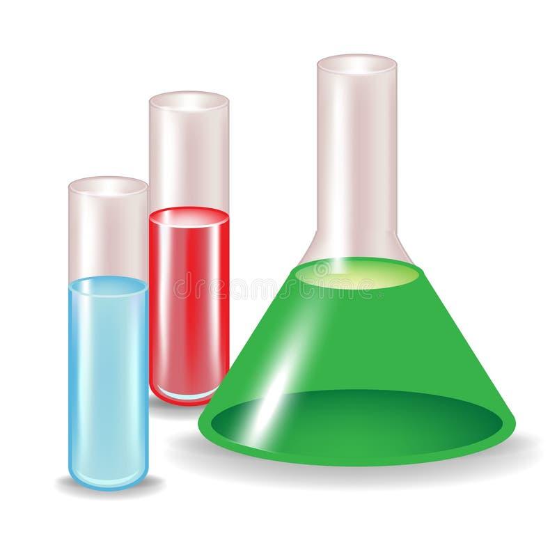 Chemische substanties in glascontainers stock illustratie