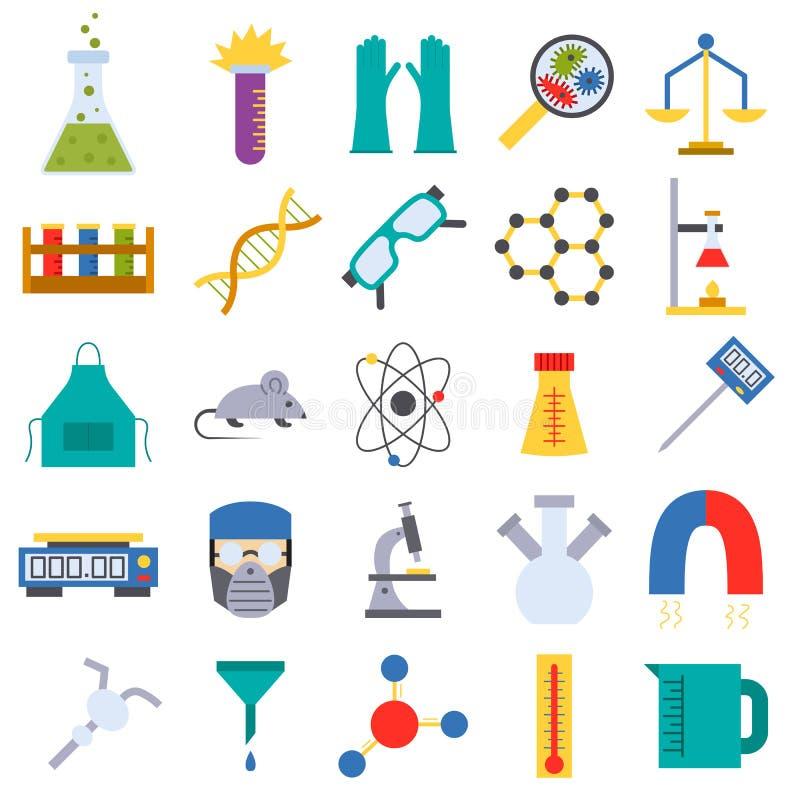 Chemische Vektorillustration der wissenschaftlichen Forschung der Laborikonenmedizinwissenschaftsexperimentgesundheit stock abbildung