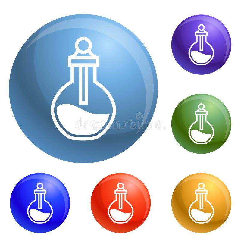 Chemischer Flaschenikonen-Satzvektor lizenzfreie abbildung