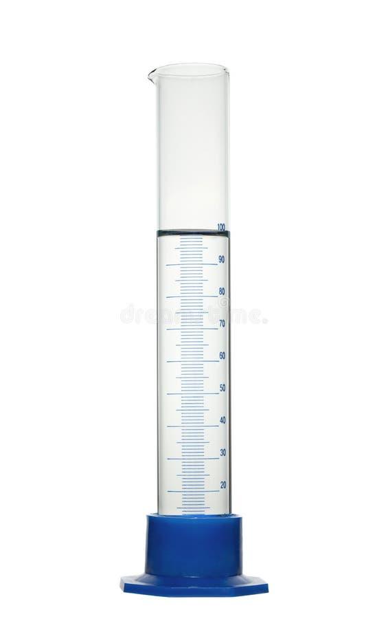 Chemischer Messzylinder mit Lösung. Lokalisiert lizenzfreie stockfotos