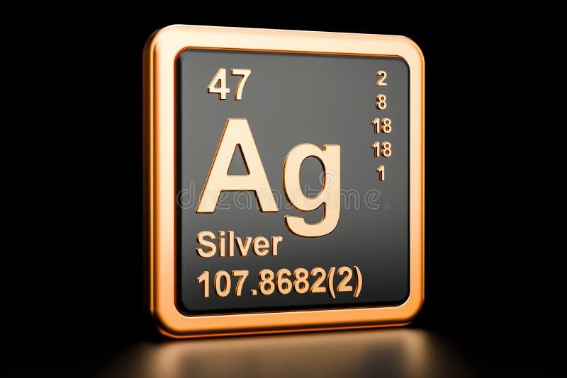 Chemisches Element Silbers AG Wiedergabe 3d vektor abbildung