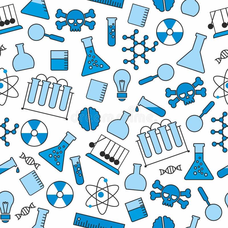 Chemisches nahtloses Muster, chemisches Labor liefert nahtloses Muster, Flaschen- und Reagenzglas und Becher lizenzfreie abbildung