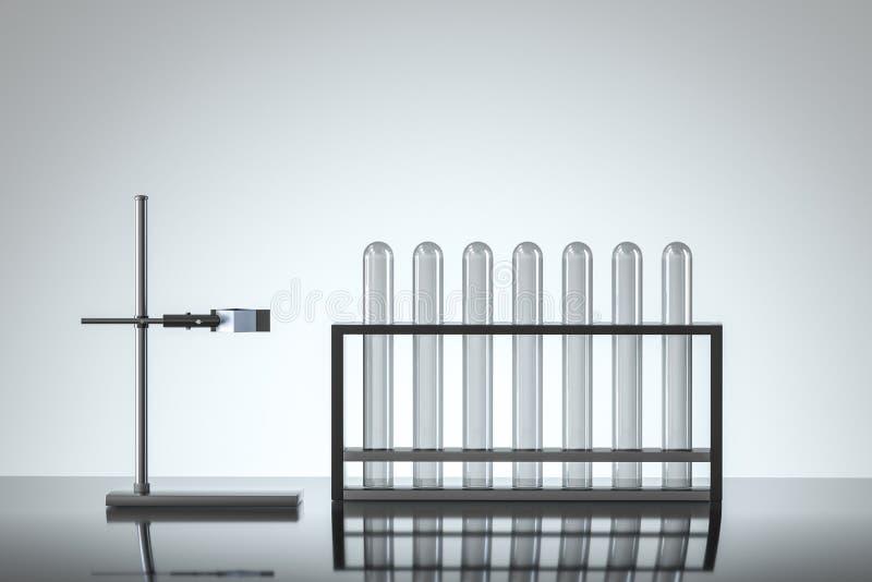 Chemisches Reagenzglas im Labor, Wiedergabe 3d vektor abbildung