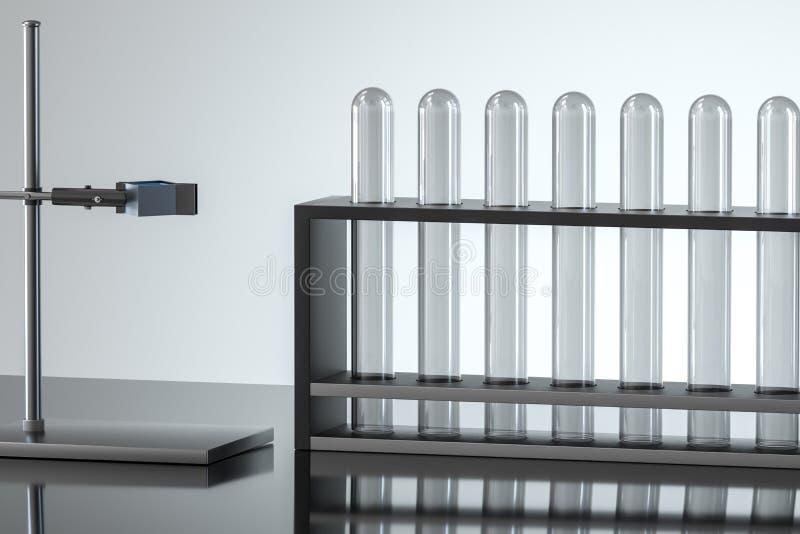 Chemisches Reagenzglas im Labor, Wiedergabe 3d lizenzfreie abbildung