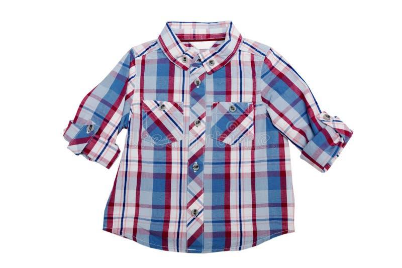 Chemise à carreaux du ` s d'enfants Isolat sur le blanc photo stock