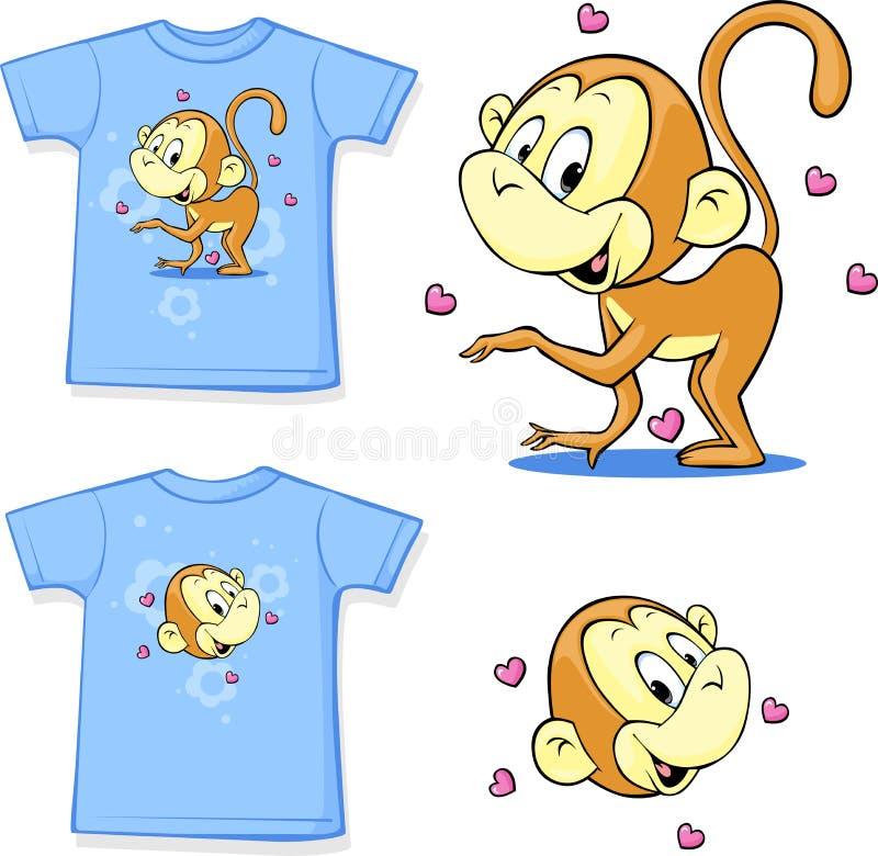 Chemise avec une photo de joyeux singes - vecteur illustration de vecteur