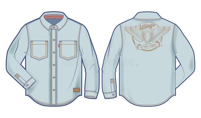 chemise bleu-clair de denim de Long-douille avec la copie audacieuse illustration libre de droits