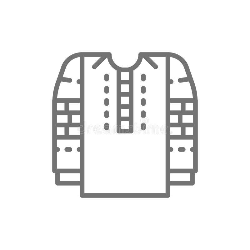 Chemise brodée, ligne ukrainienne nationale icône d'habillement illustration stock