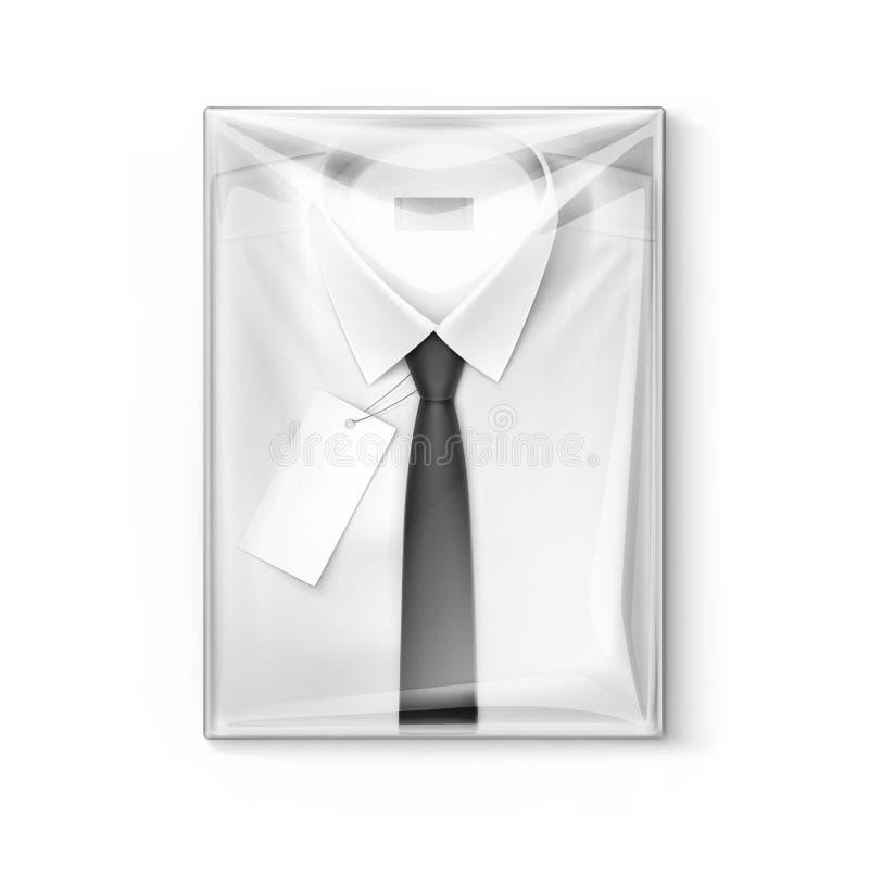 Chemise classique blanche d'hommes avec le lien dans la boîte transparente d'emballage illustration libre de droits