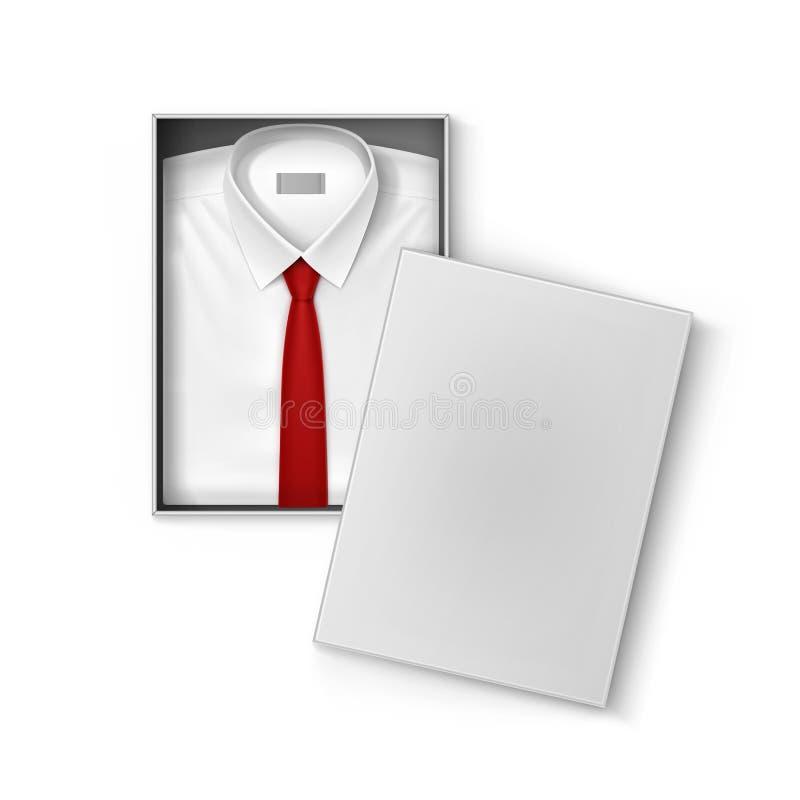 Chemise classique blanche d'hommes avec le lien rouge dans la boîte d'emballage illustration libre de droits