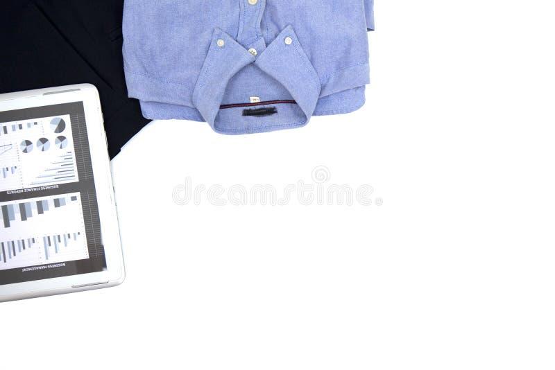 Chemise d'hommes de vue supérieure, comprimé de longs pantalons image stock