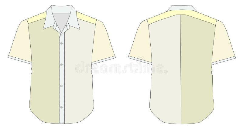 Chemise de robe de collet dans des sons jaunes de couleur verte illustration de vecteur